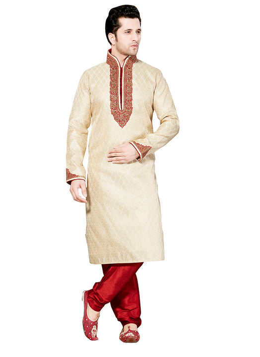Saris and Things Cream Ghicha Silk Readymade Ethnic Indian Kurta Pajama for Men