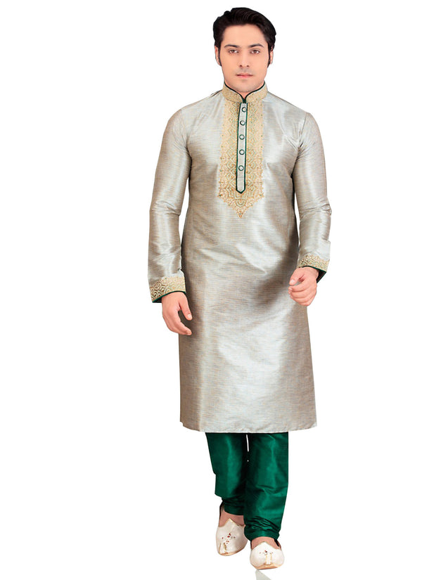 Saris and Things Gray Silk Readymade Ethnic Indian Kurta Pajama for Men