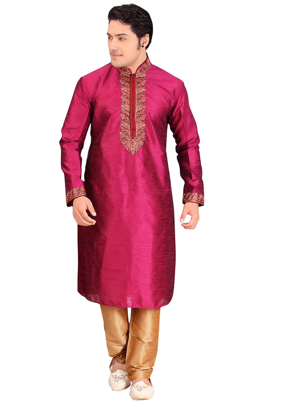 Saris and Things Pink Dupioni Raw Silk Readymade Ethnic Indian Kurta Pajama for Men
