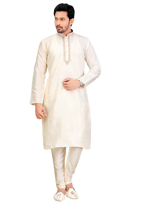 Saris and Things Cream Dupioni Raw Silk Readymade Ethnic Indian Kurta Pajama for Men