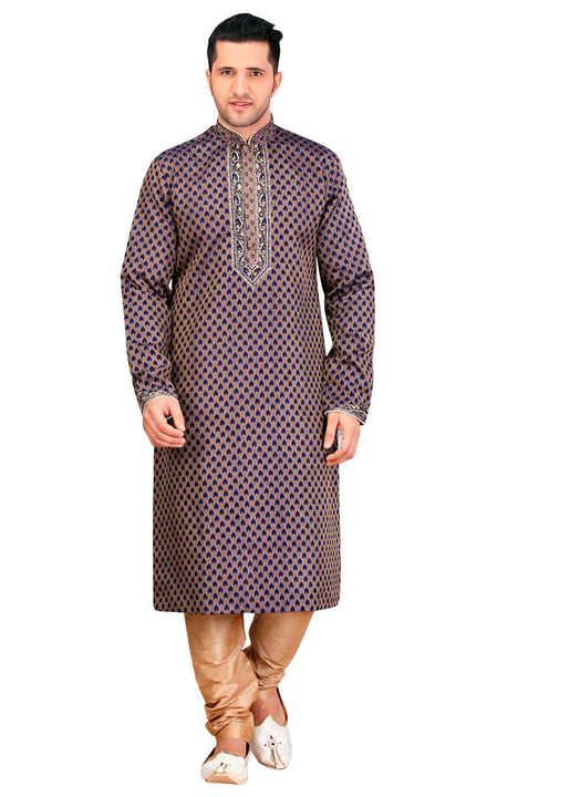 Saris and Things Brown Silk Readymade Ethnic Indian Kurta Pajama for Men