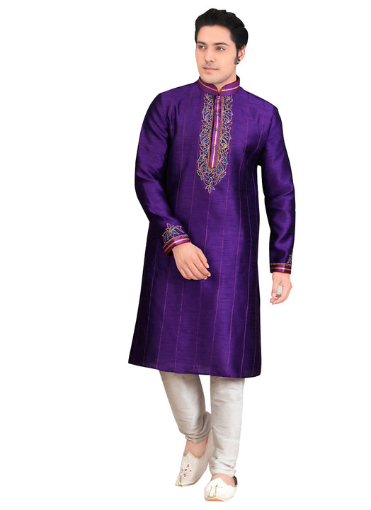 Saris and Things Purple Dupioni Raw Silk Readymade Ethnic Indian Kurta Pajama for Men