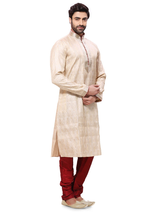 Saris and Things Beige Brocade Readymade Ethnic Indian Kurta Pajama for Men