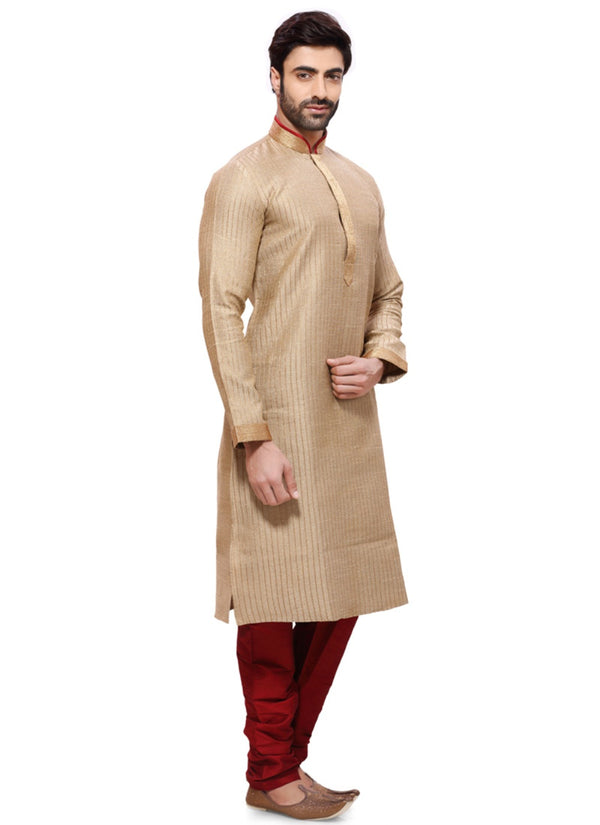 Saris and Things Brown Jute Readymade Ethnic Indian Kurta Pajama for Men