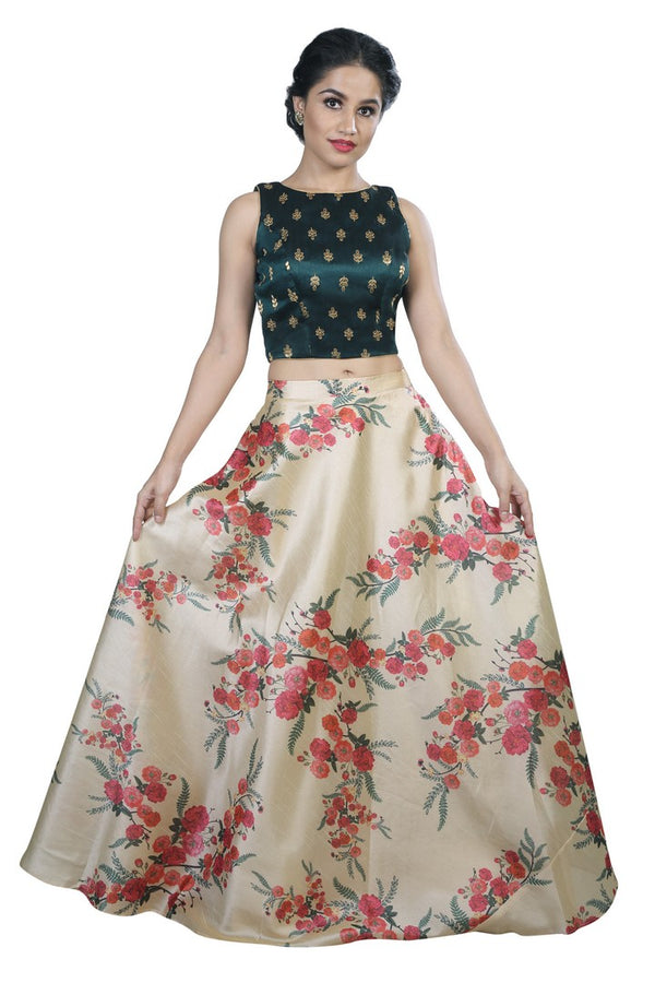 Trendy Dark Green & Cream Floral Print Lehenga and Crop Top Set