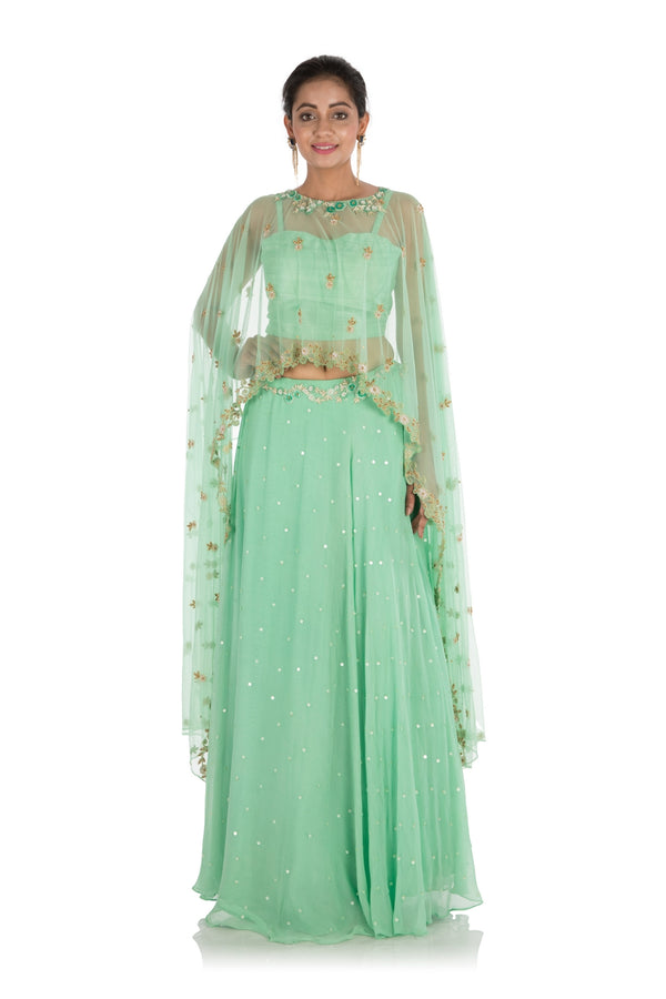 Hand Embroidered Mint Green Cape Lehenga Set