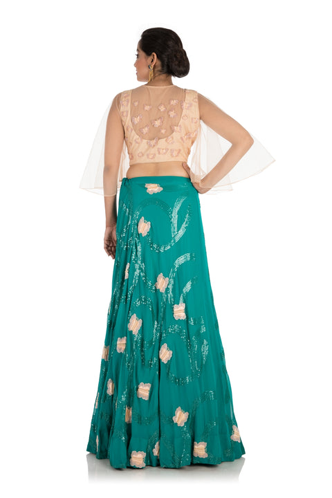 Hand Embroidery Bottle Green Lehenga Set