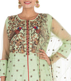 Heavy Hand Embroidered Pastel Green And Maroon Jacket Lehenga Set