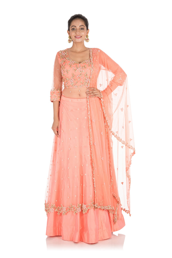 Hand Embroidered Ceramic Peach Jacket Lehenga Set