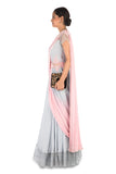 Hand Embroidered Pastel Pink & Grey Gown Saree