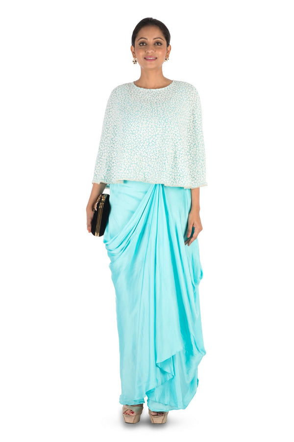 Hand Embroidered Sky Blue Drape Skirt & Cape Set