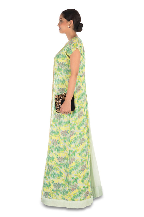 Hand Embroidered Pale Green Micro Pleated Flare Gown With Printed Jacket