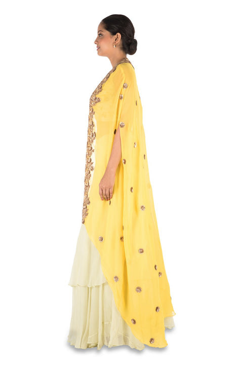 Hand Embroidered Bright Yellow And Light Lemon Kaftan Jacket Lehenga Set