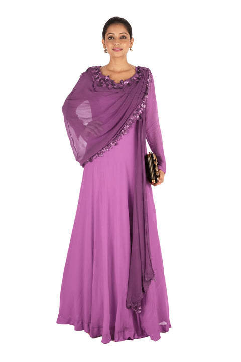 Hand Embroidered Purple Gown With Attahed Dupatta