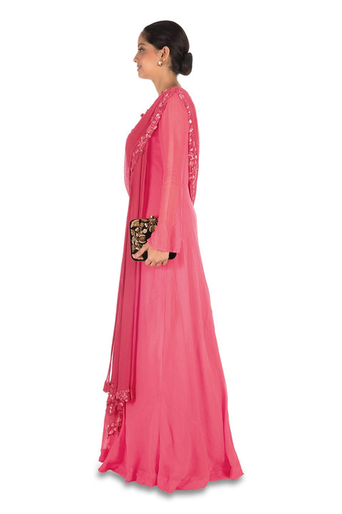 Hand Embroidered Sweet Pink Gown With Attahed Dupatta