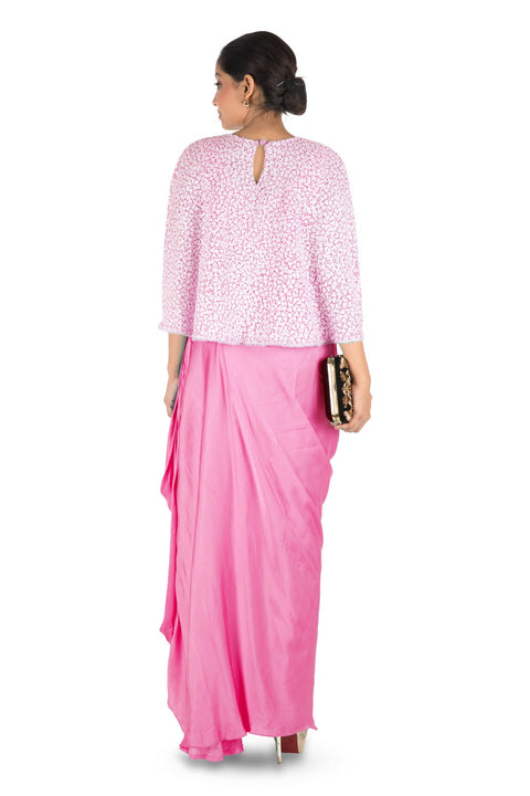 Hand Embroidered Pink Drape Skirt & Cape Set