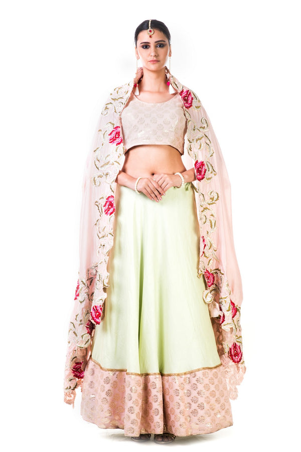 Green Silk Lehenga With A Brocade Blouse And Multi colorHabutai Silk Dupatta