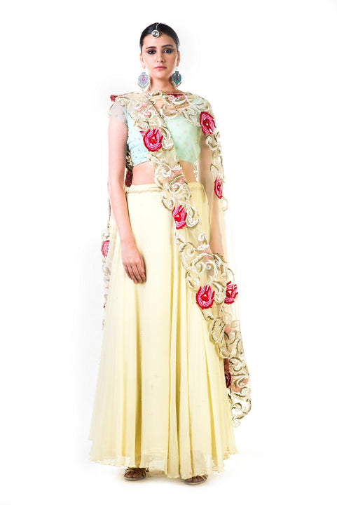 Lemon Green Chiffon Lehenga With A Sea Green Blouse And MulticolorDupatta