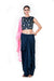 Hand Embroidered Navy Blue Crop Top & A Draped Skirt With A Pink Dupatta