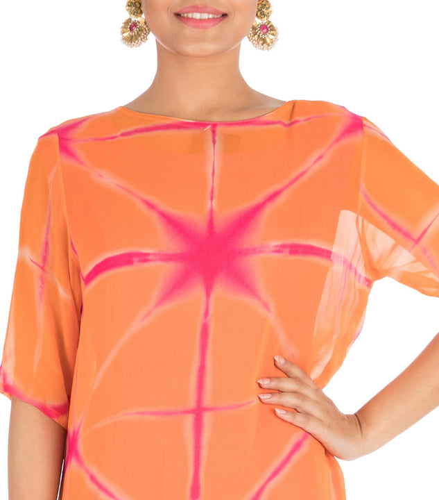 Hot Pink & Candy Orange Tie & Dye Pallazo Set