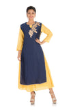 Gota Work Navy Blue & Yellow Double Layer Kurti