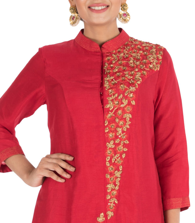 Hand Embroidered Apple Red Bandhgala Sharara Set