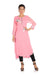 Bird Embroidered Candy Floss Asymmetrical Kurti