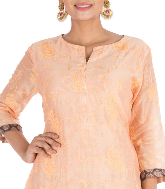 Hand Printed & Embroidered Pale Orange Double Layer Kurti