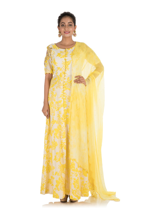 Hand Printed & Embroidered Bright Yellow Cold Shoulder Long Kurti