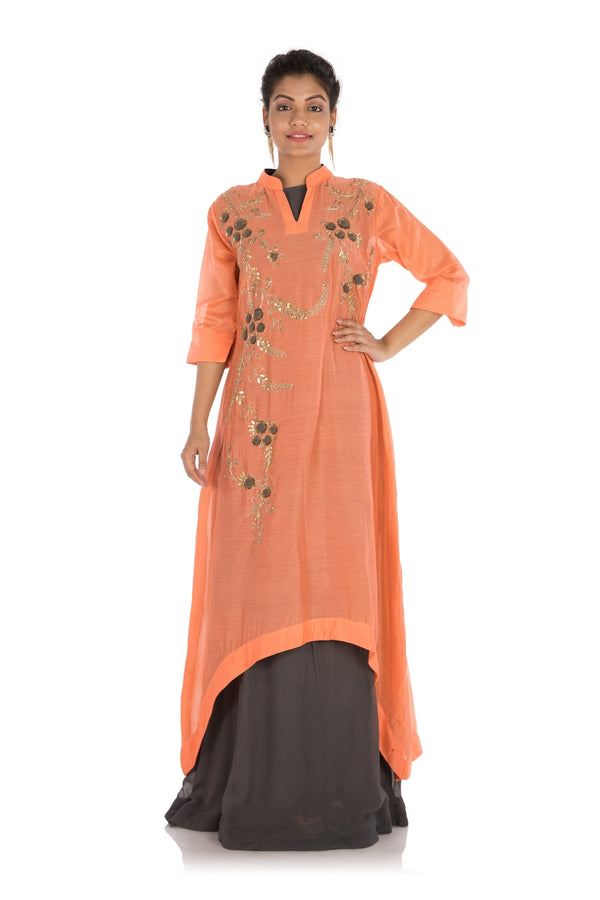 Hand Embroidered Peach & Slate Grey Double Layer Asymmetrical Kurti