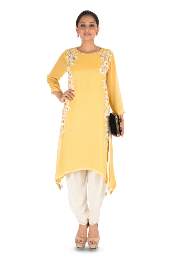 Resham Embroidered Mango Suit Set