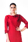 Hand Embroidered Maroon Bem Silk Tunic.