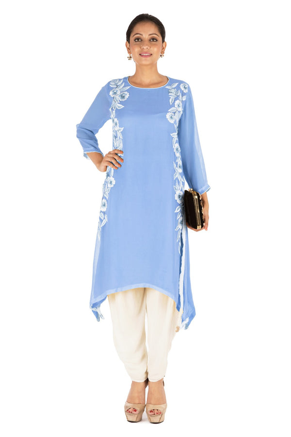 Resham Embroidered Pretty Blue Suit Set