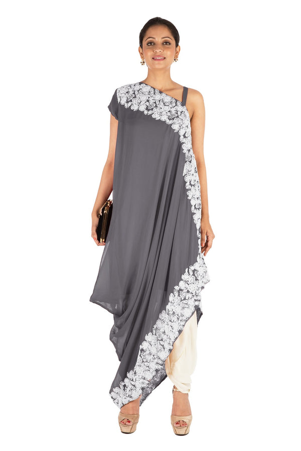 Hand Embroidered Cloud Grey Drape Kurti With Dhoti Pant.