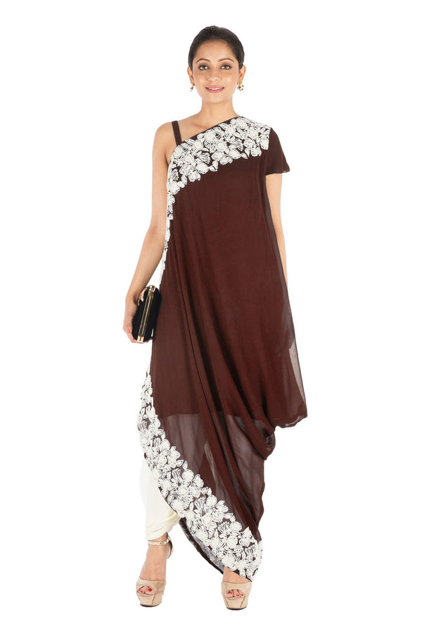 Hand Embroidered Walnut Brown Drape Kurti With Dhoti Pant.