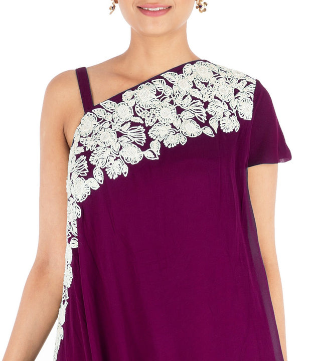 Hand Embroidered Plum Drape Kurti With Dhoti Pant.