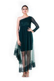 Single Shoulder Bottle Green Sequin Layered Dress