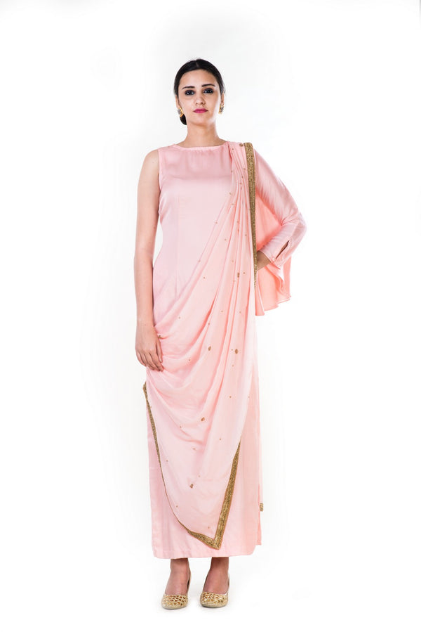 Peach Kaftan Style Straight Tunic With An Attached Palla