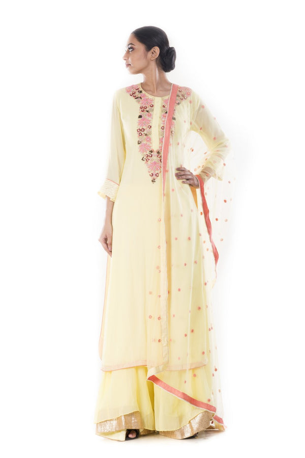 Hand Embroidered Yellow Sharara Set