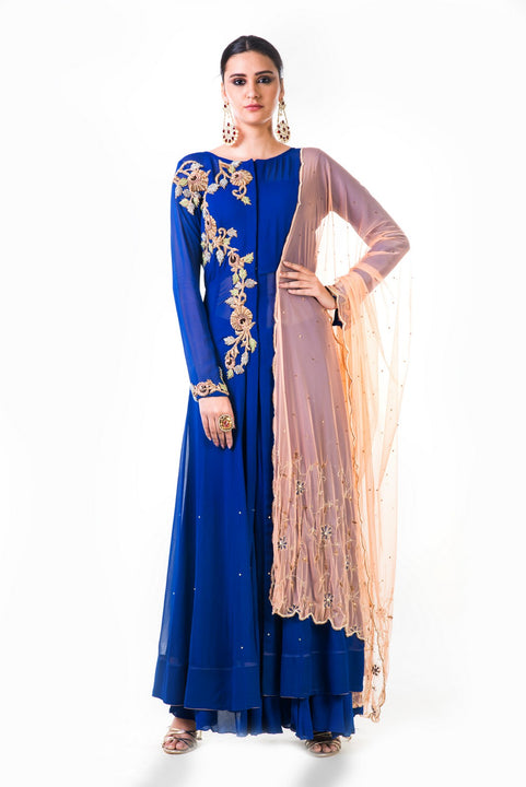 Blue Georgette Suit With Chiffon Sharara And Orange Dupatta