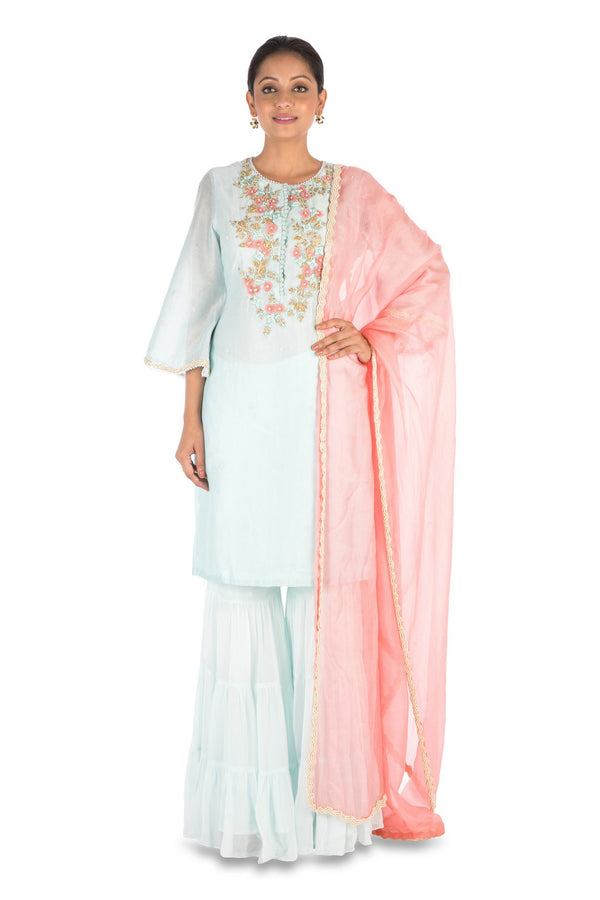 Hand Embroidered Powder Blue Three Layer Sharara Set.