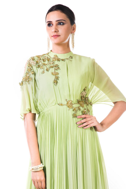 Hand Embroidered Green Overlapped Yoke Pleated Dress