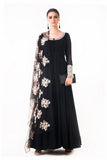 Black Ari Dress With Ari Work Net Dupatta