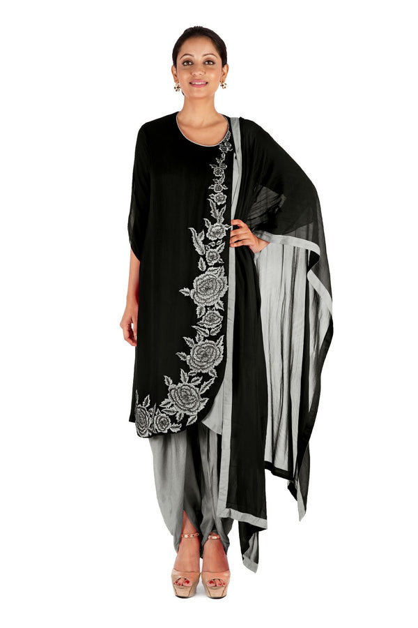 Overlaping Black Suit Set With Dhoti Pants