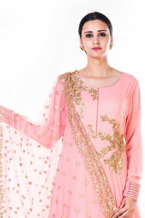 Golden Embroidery Work Peach Anarkali With A Gold Work Dupatta