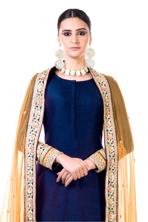 Navy Blue Double Layer Dress With Beige Dupatta