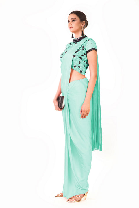 Mint Green Draped Dhoti With Shaded Palla & Patta Work Croptop