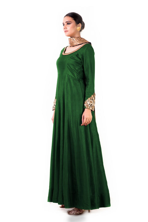 Green Bem-Silk Kali Dress With A Black Velvet Dupatta