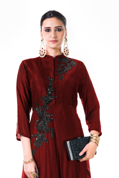 Hand Embroidered Sequins Maroon Silk Panel Dress