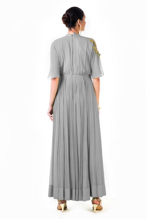 Hand Embroidered Grey Overlapped Yoke Pleated Dress